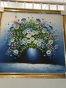 Violet Blue Summer Flower Pot Abstract Oil On Canvas Original Painting