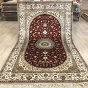 Yilong 5and039x8and039 Red Home Decor Classic Hand Woven Silk Rug Hand Knotted Carpet 483c