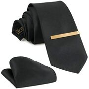 Tie Set For Men Silk Necktie, Pocket Square, Clip, And Luxury Gift Box Clothing