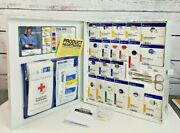 New First Aid Only Metal White Cabinet 50 Person Fully Loaded Exp 10/31/2022