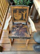 Antique Rare Wood Child's Rocker Rocking Chair, Leather Very Old And Brittle/dry