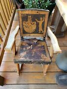 Antique Rare Wood Childandrsquos Rocker Rocking Chair Leather Very Old And Brittle/dry