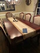 Thomasville Dining Room Set, Two Arm Chairs, Six Other Chairs, Three Leaves