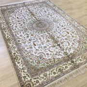 Yilong 6and039x9and039 White Hand Knotted Carpets Vintage Hand Woven Silk Area Rugs 054c