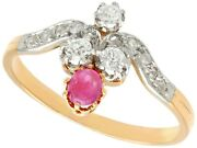 Victorian Ruby And Diamond Ring In 15k Yellow Gold