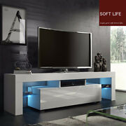 51and039and039 Tv Stand Unit Cabinet Media Storage Console Table With Led Light Shelves