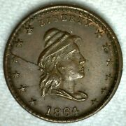 1864 Civil War Token Patriotic Our Army Capped Bust Liberty Head Die Crack Fill