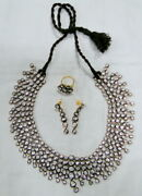 Vintage Sterling Silver And Gold Vermeil Necklace Earrings Ring Set Wedding Choker