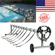 21ft Swimming Pool Cover Reel Set Aluminum In-ground Pool Solar Easy Instalation
