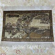 Yilong 2'x1.5' Riverside Scene Area Rug Hand Knotted Tapestry Silk Carpet M009h