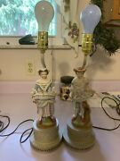 Antique French Figurine Lamps Great Condition Except Missing Shades