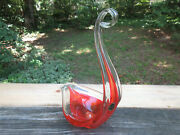 Vintage Mcm Abstract Orange Swan Bowl Pauland039s Products Made In Spain 14 X 9