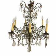 19th Century French Brass Chandelier With Amber Crystals - 6 Light