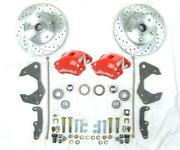 1965-68 Chevy Car Slotted Disc Brake Conversion Kit Red Wilwood Calipers Bel Air