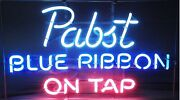 Pabst Blue Ribbon On Tap 17x14 Neon Sign Lamp Light Beer Bar With Dimmer