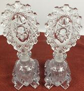 Vintage Crystal Glass Four Footed Perfume Bottles W/ Large Fancy Oval Stoppers
