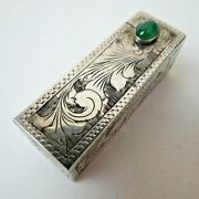 Antique Chased 800 Sterling Silver Jade Lipstick Case Compact With Flip Mirror