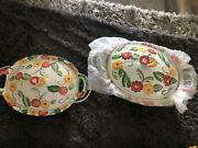 Temp-tations By Tara Floral Embroidery Presentable Ovenware 6 Piece W/ Ceramic L