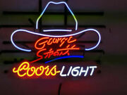 Coors Light George Strait 20x16 Neon Sign Lamp Beer Bar Artwork With Dimmer