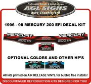 1996 1997 1998 Mercury 200 Efi Replacement Outboard Decal Kit 150 225 Hp Also