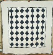 Large Beautiful Vintage 1880and039s Indigo Blue And White Antique Quilt Nice Quilting