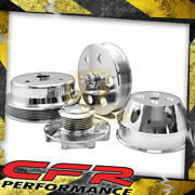 For Chevy Sb Small Block Billet Long Water Pump Serpentine Pulley Set Polished