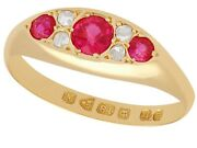 Synthetic Ruby 0.12 Ct Diamond 18carat Yellow Gold Dress Ring Antique Size Q 1/2