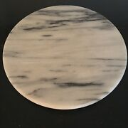 """12"""" Round 1 1/8"""" High White Marble Cheeseboard With Non-swivel Ceramic Base"""
