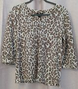 Jules And Leopold Leopard Print Three Quarter Sleeve Shirt/top - Size S - Nwt