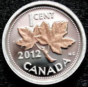 Last One Canada 2012 Rare Pure .9999 Silver And 24k Rose Gold Penny