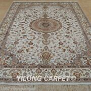 Yilong 6and039x9and039 Classic Silk Area Rug Handknotted Beige Carpet Handmade Online 1234