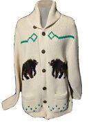 Vtg 1960andrsquos Tundra Canada Wool Cardigan Sweater Grizzly Bear Scenery Sz L