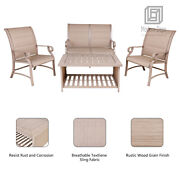 4pcs Outdoor Patio Conversation Sets Coffee Table With Loveseat And Sling Chairs