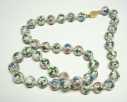 Vintage Chinese Cloisonne Enamel Hand Knotted Beaded Necklace Flowers Pink/aqua