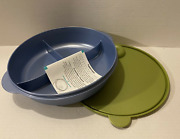 Tupperware Crystalwave Microwave Large Divided Dish Olive Green And Blue New