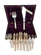 20th C Mother Of Pearl Sterling Hand Chased Cacke Set/fish Set Of 6 Flatware