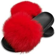 Hipretty Womenand039s Real Fox Fur Slides Open Toe Cute Fur Slippers Indoor Or Outd