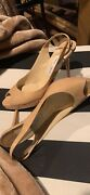 Jimmy Choo Patent Leather Peep Toe Pumps Tan Size 40- Only Worn Onceandnbsp
