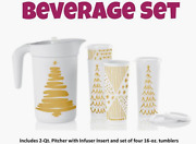 Tupperware Infuser Pitcher W/ 16 Oz Tumblers And Seals Set Tree Tidings Gold New