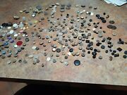 Vintage Lot Of Buttons. Nice Assortment Of Metal,glass And Mother Of Pearl.