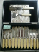 Fattorini And Sons Set Of 6 E.p.n.s. And Ivorine Fish Knives And Forks With Servers