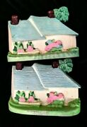 2 Vintage Cast Iron Cottage House Door Stop Or Book Ends Taiwan Hand Painted
