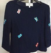 Andnbspst.john-3/4 Sleeves Embroider Navy Knit Toprarely Used. Original Cost Was 980