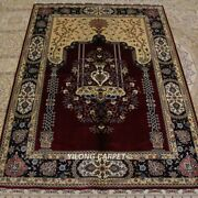 Yilong 3.5'x5' Red Handmade Silk Rugs Tapestry Carpet Porch Hand Knotted Tj106a