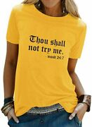Dresswel Women Plus Size Shirt Thou Shall Not Try Me Letter Print T-shirt Funny