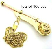 Nautical Brass Golden Nautical Key Chain Whistle Vintage Lots Of 100 Pcs