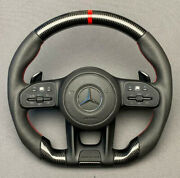 Steering Wheel Carbon Leather Red Stitching Fits Mercedes Benz W222 W213 W463a