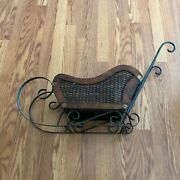 Vintage Small Wood, Wicker And Wrought Iron Sleigh