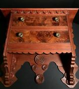 Beautiful Flamed Mahogany 2-drawer Front Folk Hanging Shelflate 19th Cexcelent