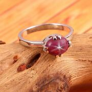 Ruby Star Sapphire Ring Art Deco Ring Dainty Stackable Ring 925 Sterling Silver